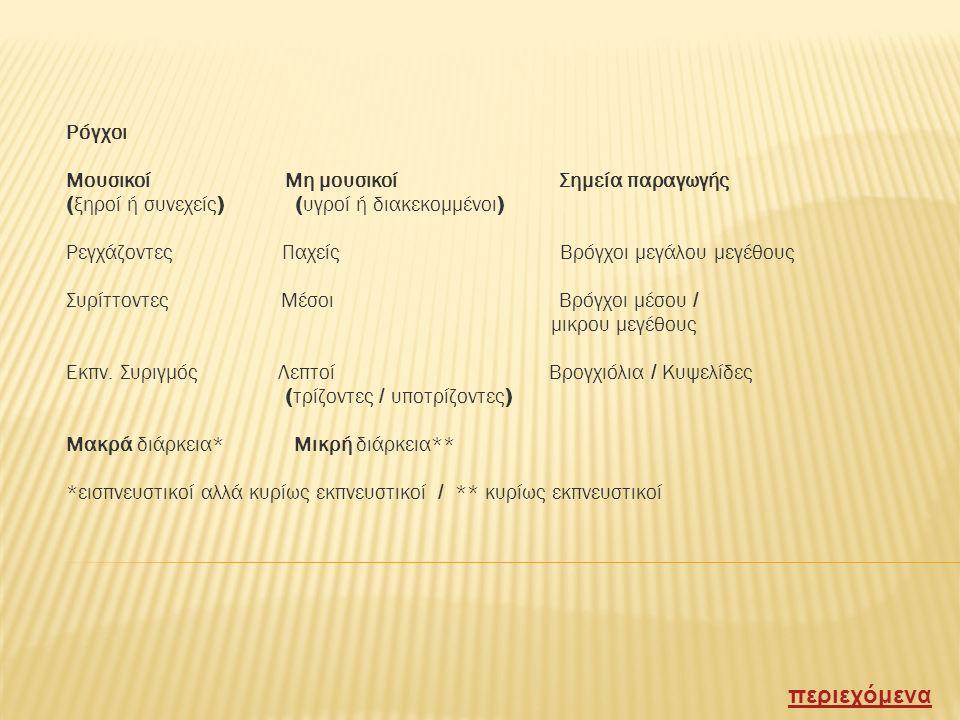 Φωνητική απήχηση ( ήχος απηχήσεως φωνής ) Μεταφορά του ήχου που προκαλεί η προφορά του 33 ή του 99 Αισθητό και με την ψηλάφηση ( φωνητικές δονήσεις ) Μείωση φωνητικής απήχησης : ατελεκτασία ( απόφραξη βρόγχου ) υγρά πλευρίτις Αύξηση φωνητικής απήχησης : πνευμονική πύκνωση ( πνευμονία ) Επιπρόσθετοι ήχοι Ρόγχοι και πλευριτική τριβή Πλευριτική τριβή Τελοεισπνευστικός ήχος χαμηλής συχνότητος, συνήθως εντοπισμένος, που παράγεται από την επαφή φλεγμαινόντων πετάλων του υπεζωκότα ( ΔΔ από λεπτούς υγρούς ρόγχους ) περιεχόμενα