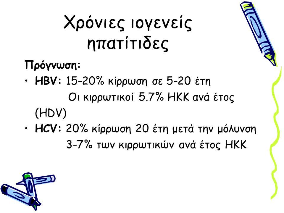 Χρόνιες ιογενείς ηπατίτιδες Πρόγνωση: HBV: 15-20% κίρρωση σε 5-20 έτη Οι κιρρωτικοί 5.7% ΗΚΚ ανά έτος (HDV) HCV: 20% κίρρωση 20 έτη μετά την μόλυνση 3