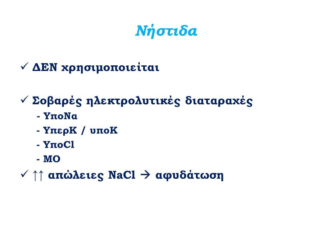 Νήστιδα ΔΕΝ χρησιμοποιείται Σοβαρές ηλεκτρολυτικές διαταραχές - ΥποΝα - ΥπερΚ / υποK - ΥποCl - MO ↑↑ απώλειες NaCl  αφυδάτωση