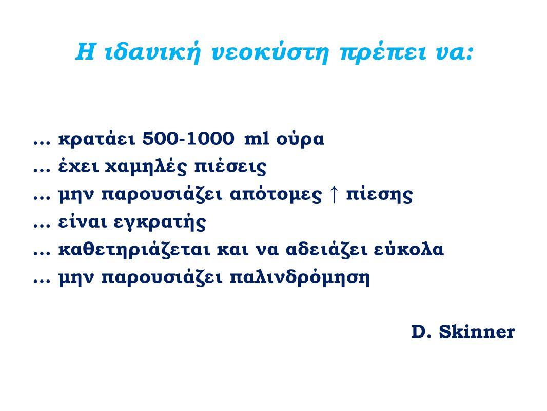 Η ιδανική νεοκύστη πρέπει να: … κρατάει 500-1000 ml ούρα … έχει χαμηλές πιέσεις … μην παρουσιάζει απότομες ↑ πίεσης … είναι εγκρατής … καθετηριάζεται