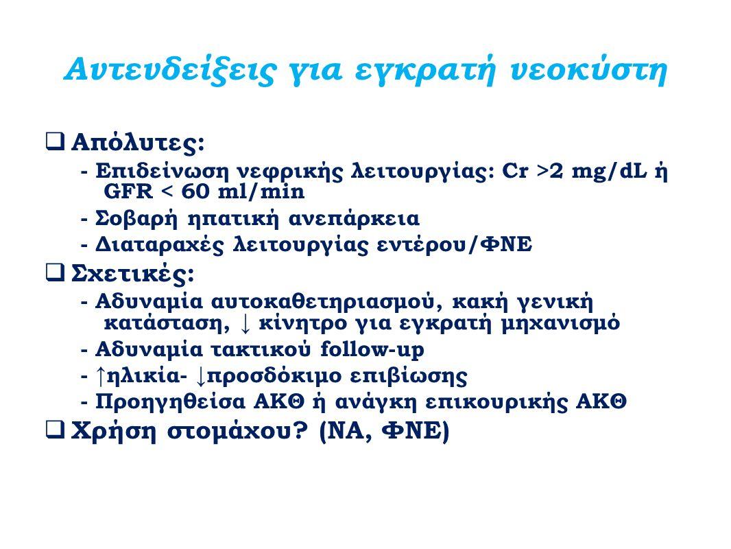 Αντενδείξεις για εγκρατή νεοκύστη  Απόλυτες: - Επιδείνωση νεφρικής λειτουργίας: Cr >2 mg/dL ή GFR < 60 ml/min - Σοβαρή ηπατική ανεπάρκεια - Διαταραχέ