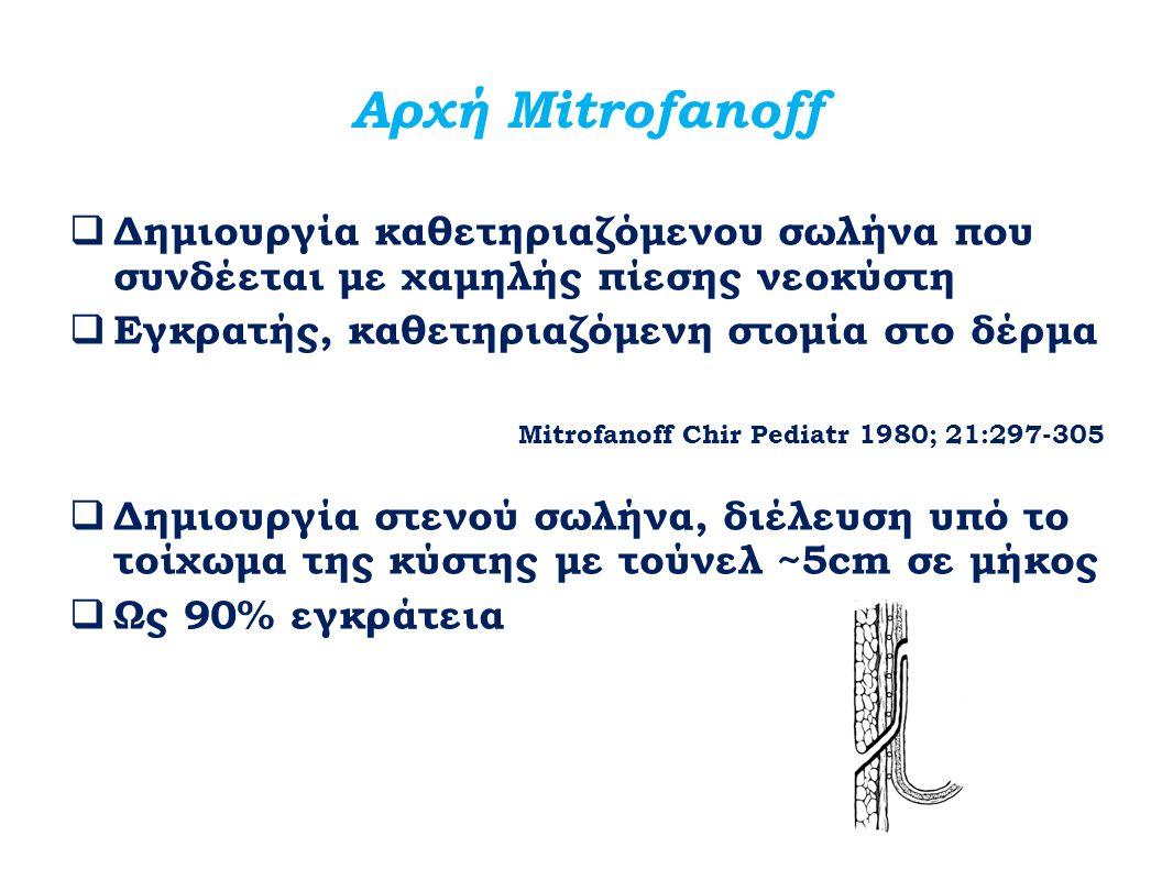 Αρχή Mitrofanoff  Δημιουργία καθετηριαζόμενου σωλήνα που συνδέεται με χαμηλής πίεσης νεοκύστη  Εγκρατής, καθετηριαζόμενη στομία στο δέρμα Mitrofanof