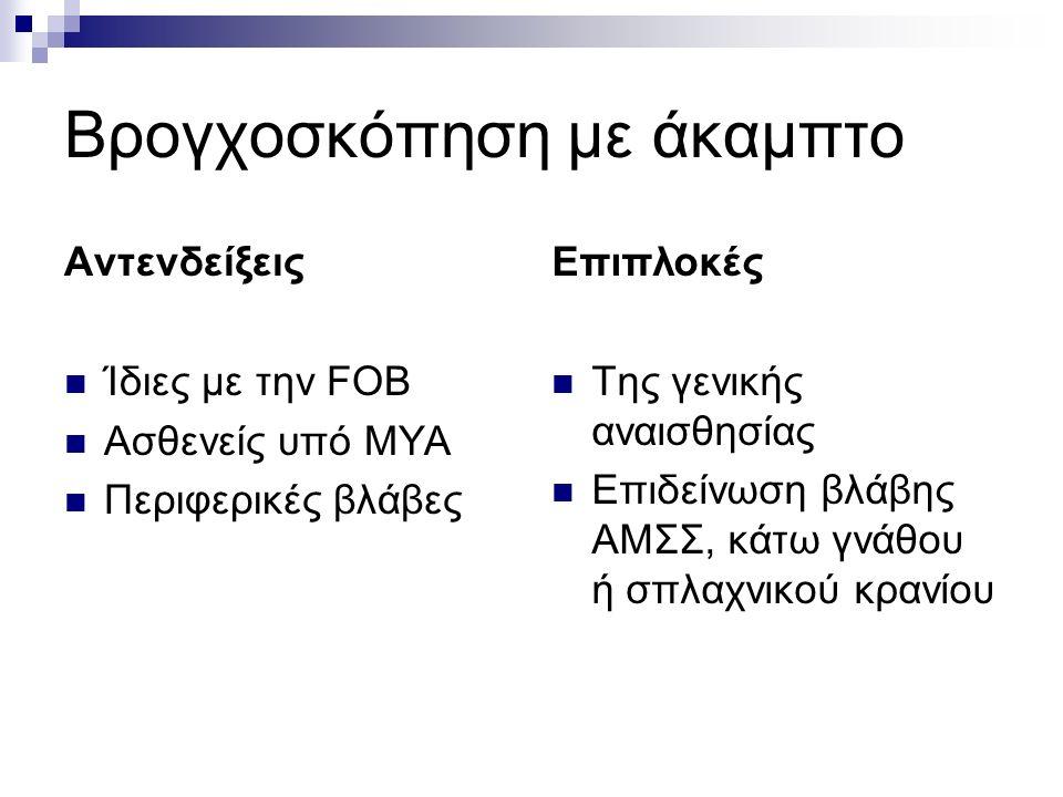 Βρογχοσκόπηση με άκαμπτο Αντενδείξεις Ίδιες με την FOB Ασθενείς υπό ΜΥΑ Περιφερικές βλάβες Επιπλοκές Της γενικής αναισθησίας Επιδείνωση βλάβης ΑΜΣΣ, κάτω γνάθου ή σπλαχνικού κρανίου
