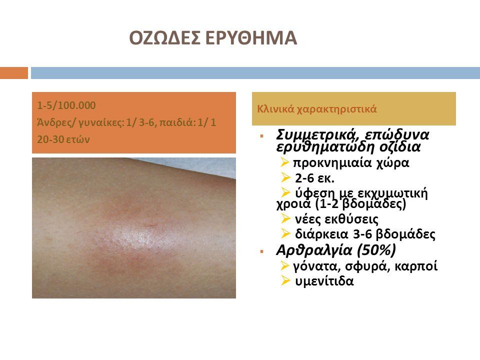 ΟΖΩΔΕΣ ΕΡΥΘΗΜΑ  Συμμετρικά, επώδυνα ερυθηματώδη οζίδια  προκνημιαία χώρα  2-6 εκ.  ύφεση με εκχυμωτική χροιά (1-2 βδομάδες )  νέες εκθύσεις  διά