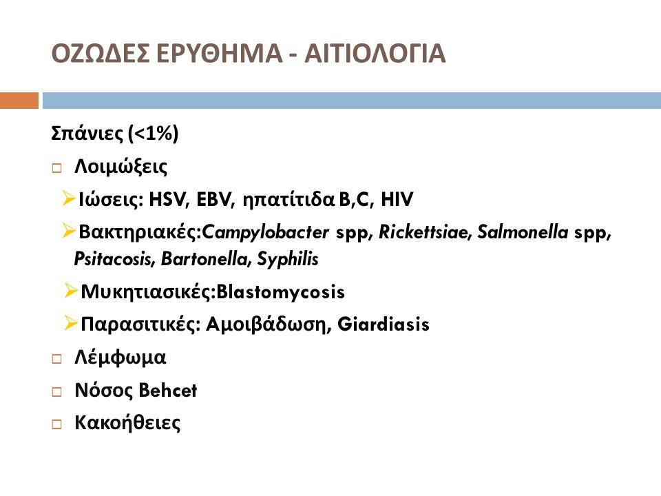 ΟΖΩΔΕΣ ΕΡΥΘΗΜΑ - ΔΙΑΓΝΩΣΗ  Γενική αίματος, ΤΚΕ, C-reactive protein  E ξέταση για στρεπτοκοκκική λοίμωξη : κ / α φαρυγγικού επιχρίσματος, antistreptolysin-O, ή / και PCR  Βιοψία / ιστολογική εξέταση : όταν η κλινική διάγνωση δεν είναι σίγουρη  Αποκλεισμός χρόνιας νόσου : Mantoux, α / α θώρακος  Κ / α και παρασιτολογική εξέταση κοπράνων  Διερεύνηση φλεγμονώδους νόσου εντέρου επί συμπτωματολογίας από το ΓΕΣ