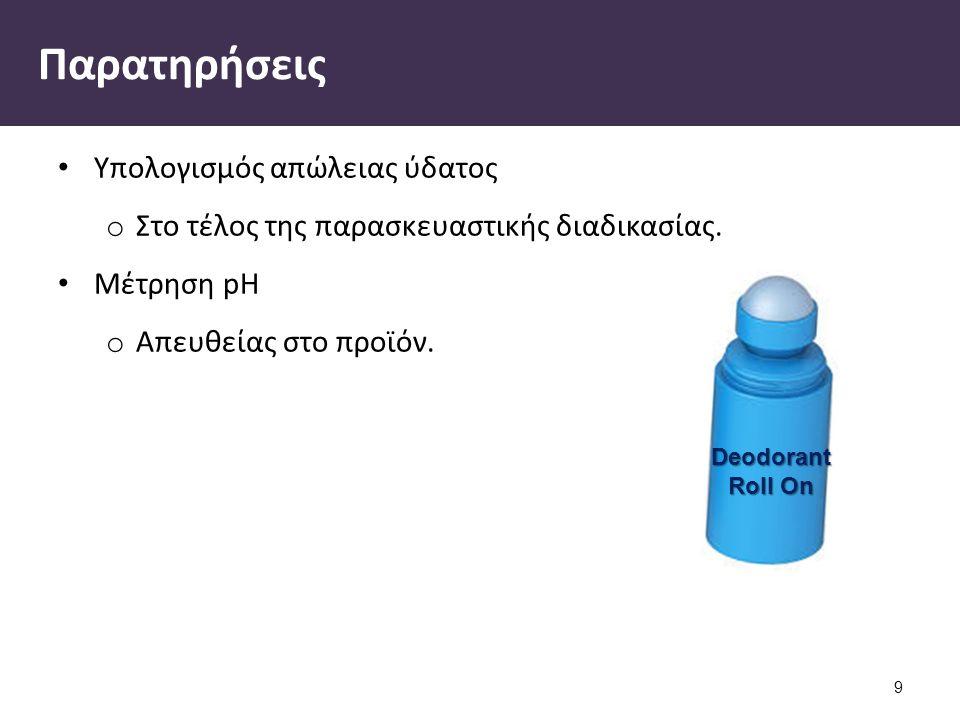 Deodorant Roll On Παρατηρήσεις Υπολογισμός απώλειας ύδατος o Στο τέλος της παρασκευαστικής διαδικασίας.