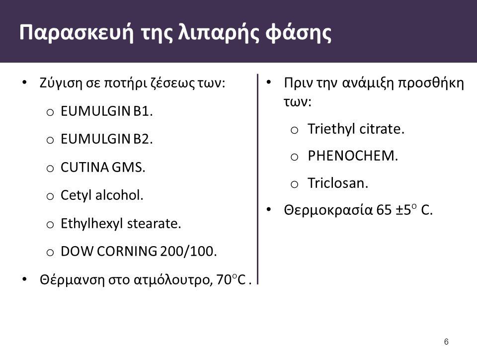 Πριν την ανάμιξη προσθήκη των: o Triethyl citrate.