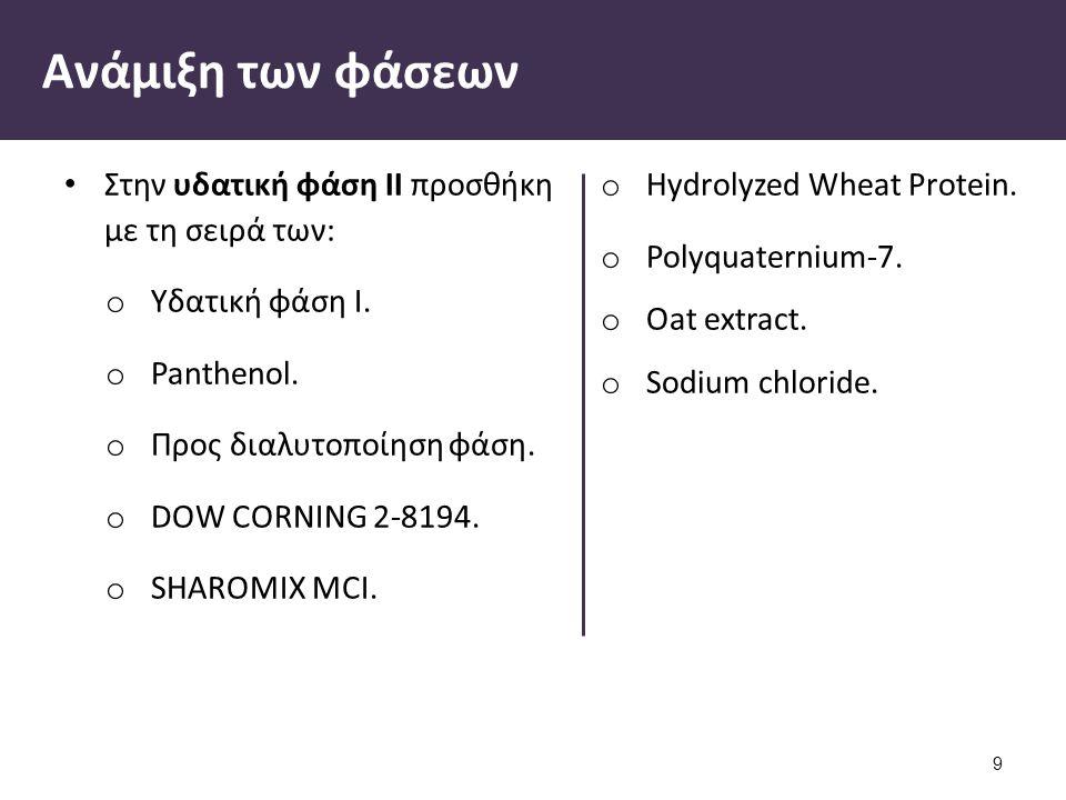 Ανάμιξη των φάσεων Στην υδατική φάση ΙΙ προσθήκη με τη σειρά των: o Yδατική φάση Ι. o Panthenol. o Προς διαλυτοποίηση φάση. o DOW CORNING 2-8194. o SH