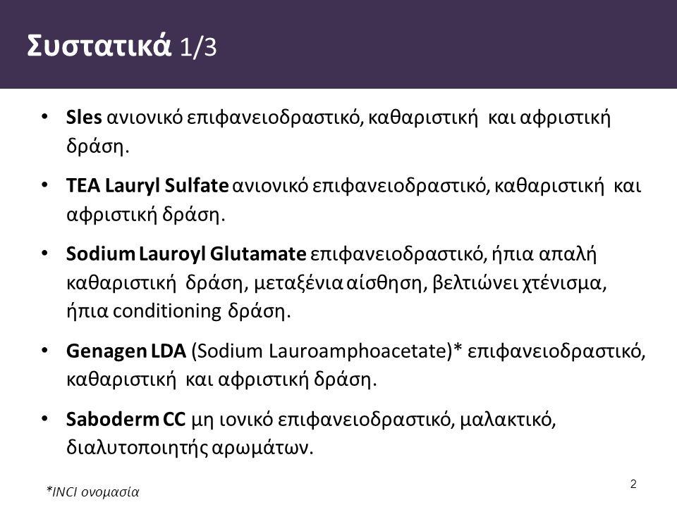 *INCI ονομασία Συστατικά 1/3 Sles ανιονικό επιφανειοδραστικό, καθαριστική και αφριστική δράση. TEA Lauryl Sulfate ανιονικό επιφανειοδραστικό, καθαριστ