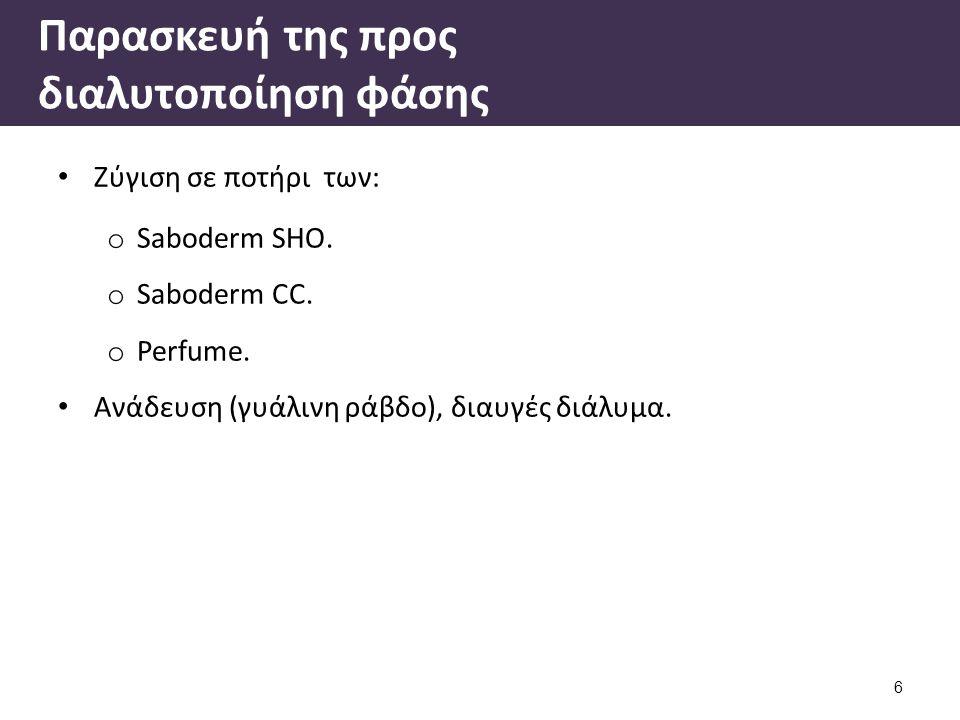 Παρασκευή της προς διαλυτοποίηση φάσης Ζύγιση σε ποτήρι των: o Saboderm SHO. o Saboderm CC. o Perfume. Ανάδευση (γυάλινη ράβδο), διαυγές διάλυμα. 6