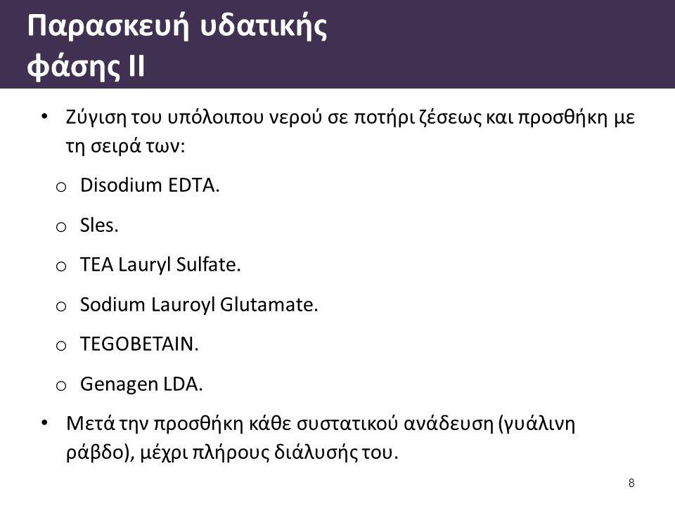 Παρασκευή υδατικής φάσης ΙΙ Ζύγιση του υπόλοιπου νερού σε ποτήρι ζέσεως και προσθήκη με τη σειρά των: o Disodium EDTΑ. o Sles. o TEA Lauryl Sulfate. o