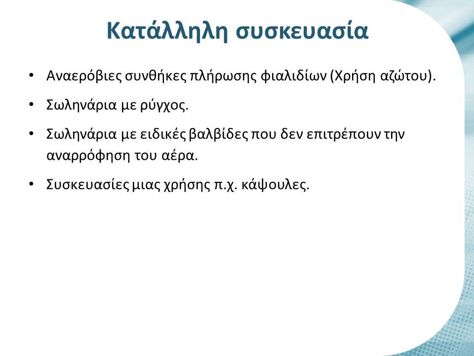 Αναερόβιες συνθήκες πλήρωσης φιαλιδίων (Χρήση αζώτου). Σωληνάρια με ρύγχος. Σωληνάρια με ειδικές βαλβίδες που δεν επιτρέπουν την αναρρόφηση του αέρα.