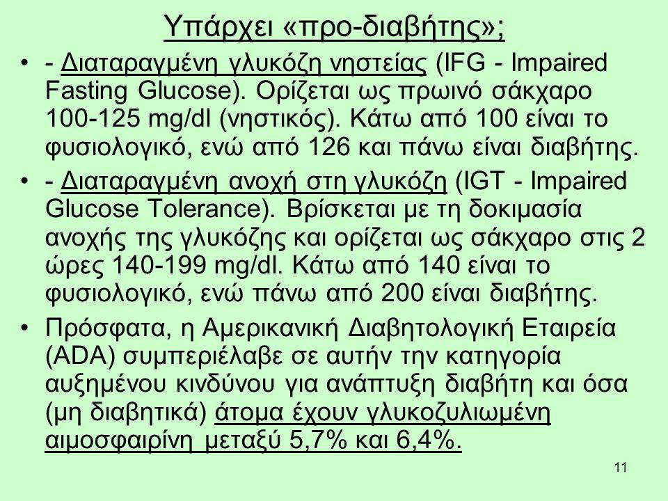 11 Υπάρχει «προ-διαβήτης»; - Διαταραγμένη γλυκόζη νηστείας (IFG - Impaired Fasting Glucose). Ορίζεται ως πρωινό σάκχαρο 100-125 mg/dl (νηστικός). Κάτω
