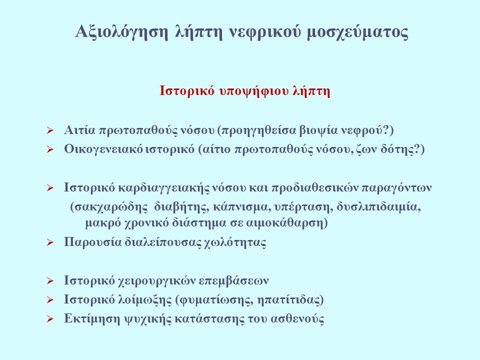 Ιστορικό υποψήφιου λήπτη  Αιτία πρωτοπαθούς νόσου (προηγηθείσα βιοψία νεφρού?)  Οικογενειακό ιστορικό (αίτιο πρωτοπαθούς νόσου, ζων δότης?)  Ιστορικό καρδιαγγειακής νόσου και προδιαθεσικών παραγόντων (σακχαρώδης διαβήτης, κάπνισμα, υπέρταση, δυσλιπιδαιμία, μακρό χρονικό διάστημα σε αιμοκάθαρση)  Παρουσία διαλείπουσας χωλότητας  Ιστορικό χειρουργικών επεμβάσεων  Ιστορικό λοίμωξης (φυματίωσης, ηπατίτιδας)  Εκτίμηση ψυχικής κατάστασης του ασθενούς Αξιολόγηση λήπτη νεφρικού μοσχεύματος