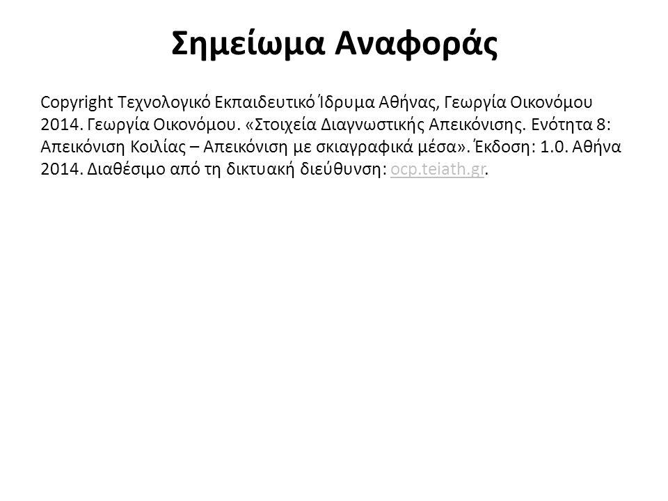 Σημείωμα Αναφοράς Copyright Τεχνολογικό Εκπαιδευτικό Ίδρυμα Αθήνας, Γεωργία Οικονόμου 2014.