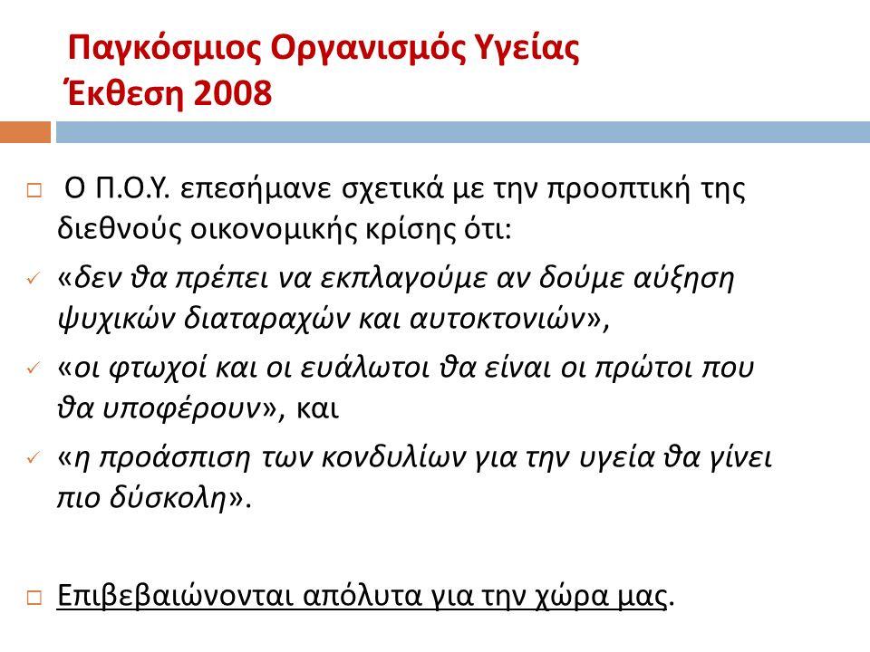 Παγκόσμιος Οργανισμός Υγείας Έκθεση 2008  Ο Π. Ο.