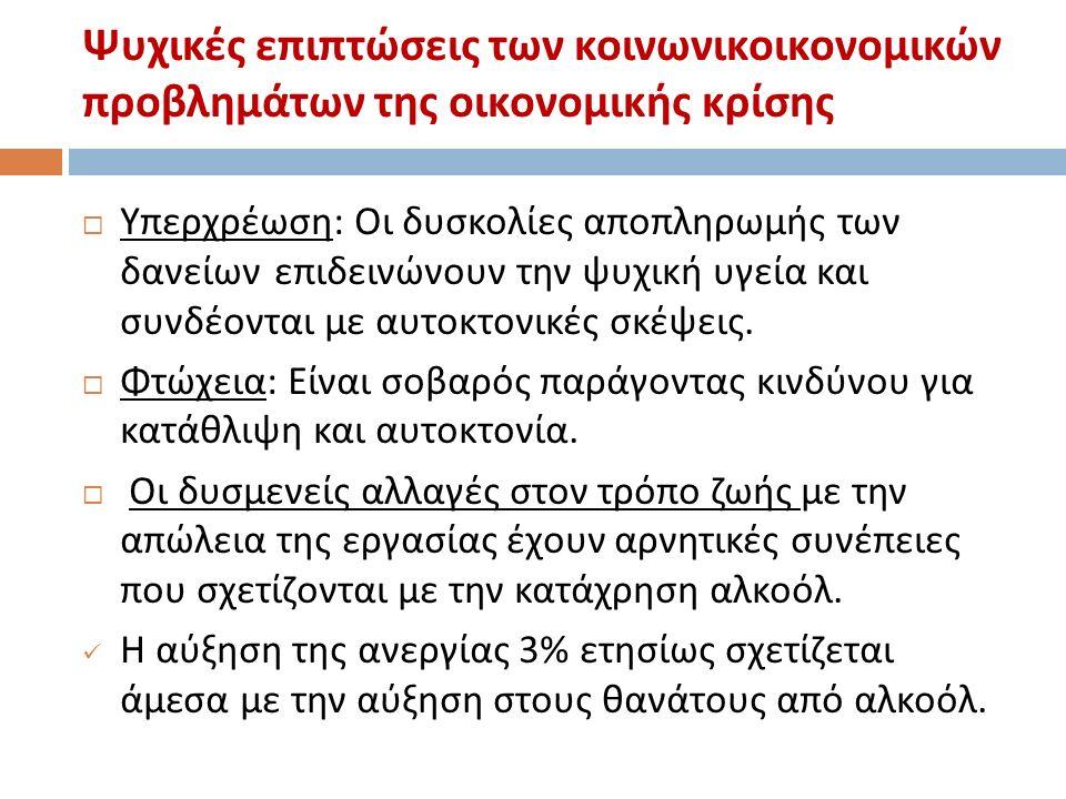 Ελλάδα : Επιπτώσεις μείωσης του εισοδήματος και της ανεργίας στην ψυχική υγεία  Έρευνα του ΕΠΙΨΥ (2011) δείχνει ότι τα άτομα που βρίσκονται σε κατάσταση μεγάλης οικονομικής δυσκολίας, σε σχέση με όσους έχουν λιγότερες οικονομικές δυσκολίες,: εμφανίζουν σε τριπλάσιο ποσοστό μείζον καταθλιπτικό επεισόδιο (21% έναντι 6,2%), αναφέρουν σε τριπλάσιο ποσοστό ιδέες αυτοκτονίας (21,2% έναντι 7,4%), και αναζητούν υπηρεσίες υποστήριξης χωρίς αποτέλεσμα.