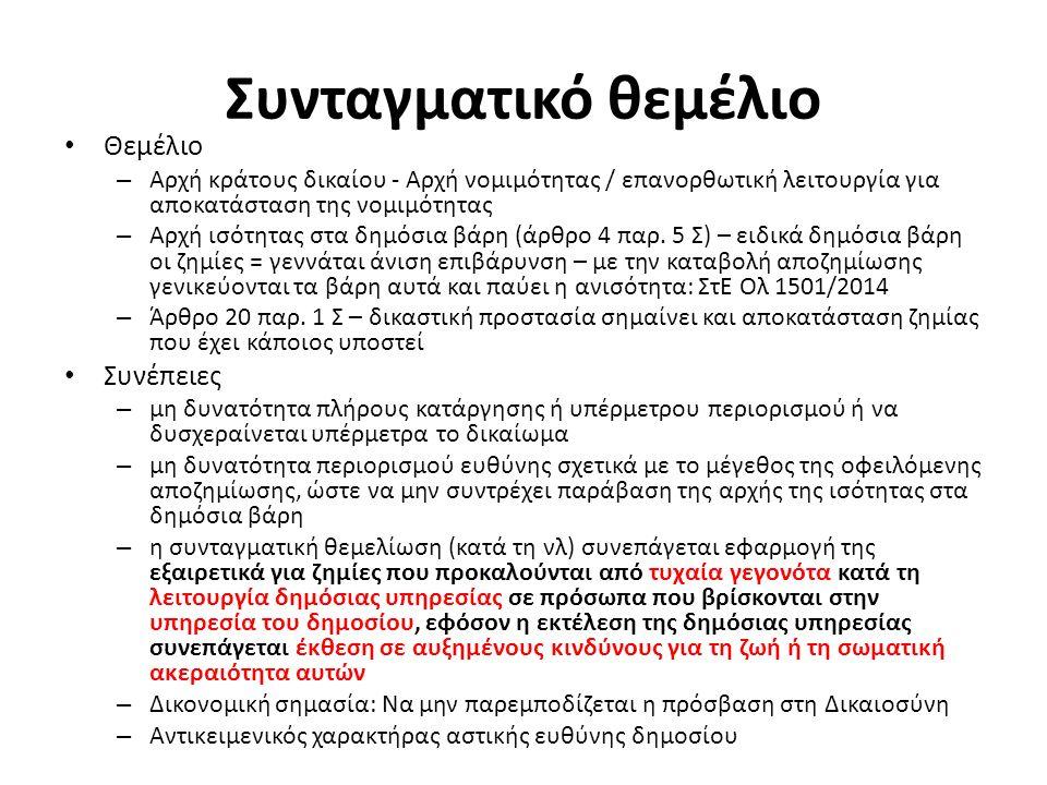 Συνταγματικό θεμέλιο Θεμέλιο – Αρχή κράτους δικαίου - Αρχή νομιμότητας / επανορθωτική λειτουργία για αποκατάσταση της νομιμότητας – Αρχή ισότητας στα
