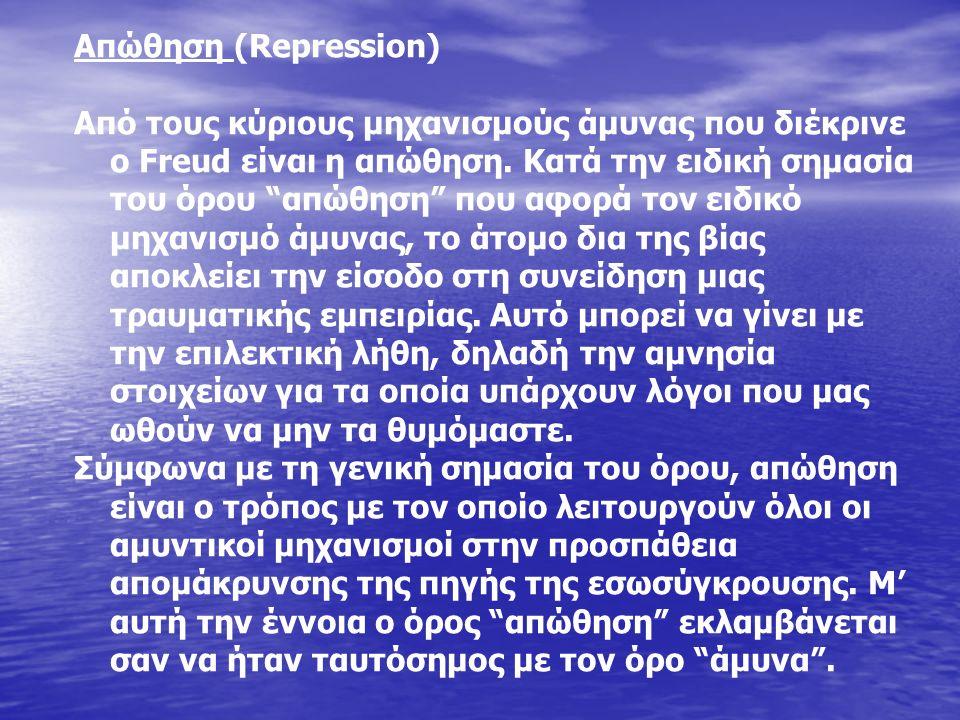 Απώθηση (Repression) Από τους κύριους μηχανισμούς άμυνας που διέκρινε ο Freud είναι η απώθηση.