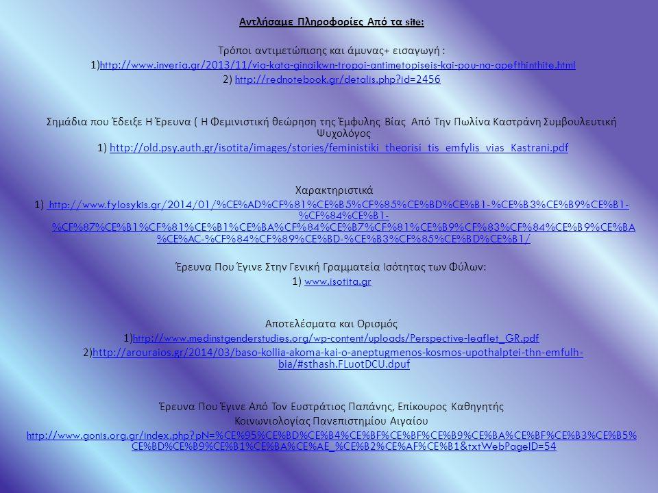 Αντλήσαμε Πληροφορίες Από τα site: Τρόποι αντιμετώπισης και άμυνας + εισαγωγή : 1)http://www.inveria.gr/2013/11/via-kata-ginaikwn-tropoi-antimetopiseis-kai-pou-na-apefthinthite.htmlhttp://www.inveria.gr/2013/11/via-kata-ginaikwn-tropoi-antimetopiseis-kai-pou-na-apefthinthite.html 2) http://rednotebook.gr/detalis.php id=2456http://rednotebook.gr/detalis.php id=2456 Σημάδια που Έδειξε Η Έρευνα ( Η Φεμινιστική θεώρηση της Έμφυλης Βίας Από Την Πωλίνα Καστράνη Συμβουλευτική Ψυχολόγος 1) http://old.psy.auth.gr/isotita/images/stories/feministiki_theorisi_tis_emfylis_vias_Kastrani.pdfhttp://old.psy.auth.gr/isotita/images/stories/feministiki_theorisi_tis_emfylis_vias_Kastrani.pdf Χαρακτηριστικά 1) http://www.fylosykis.gr/2014/01/%CE%AD%CF%81%CE%B5%CF%85%CE%BD%CE%B1-%CE%B3%CE%B9%CE%B1- %CF%84%CE%B1- %CF%87%CE%B1%CF%81%CE%B1%CE%BA%CF%84%CE%B7%CF%81%CE%B9%CF%83%CF%84%CE%B9%CE%BA %CE%AC-%CF%84%CF%89%CE%BD-%CE%B3%CF%85%CE%BD%CE%B1/ http://www.fylosykis.gr/2014/01/%CE%AD%CF%81%CE%B5%CF%85%CE%BD%CE%B1-%CE%B3%CE%B9%CE%B1- %CF%84%CE%B1- %CF%87%CE%B1%CF%81%CE%B1%CE%BA%CF%84%CE%B7%CF%81%CE%B9%CF%83%CF%84%CE%B9%CE%BA %CE%AC-%CF%84%CF%89%CE%BD-%CE%B3%CF%85%CE%BD%CE%B1/ Έρευνα Που Έγινε Στην Γενική Γραμματεία Ισότητας των Φύλων : 1) www.isotita.grwww.isotita.gr Αποτελέσματα και Ορισμός 1)http://www.medinstgenderstudies.org/wp-content/uploads/Perspective-leaflet_GR.pdfhttp://www.medinstgenderstudies.org/wp-content/uploads/Perspective-leaflet_GR.pdf 2)http://arouraios.gr/2014/03/baso-kollia-akoma-kai-o-aneptugmenos-kosmos-upothalptei-thn-emfulh- bia/#sthash.FLuotDCU.dpufhttp://arouraios.gr/2014/03/baso-kollia-akoma-kai-o-aneptugmenos-kosmos-upothalptei-thn-emfulh- bia/#sthash.FLuotDCU.dpuf Έρευνα Που Έγινε Από Τον Ευστράτιος Παπάνης, Επίκουρος Καθηγητής Κοινωνιολογίας Πανεπιστημίου Αιγαίου http://www.gonis.org.gr/index.php pN=%CE%95%CE%BD%CE%B4%CE%BF%CE%BF%CE%B9%CE%BA%CE%BF%CE%B3%CE%B5% CE%BD%CE%B9%CE%B1%CE%BA%CE%AE_%CE%B2%CE%AF%CE%B1&txtWebPageID=54