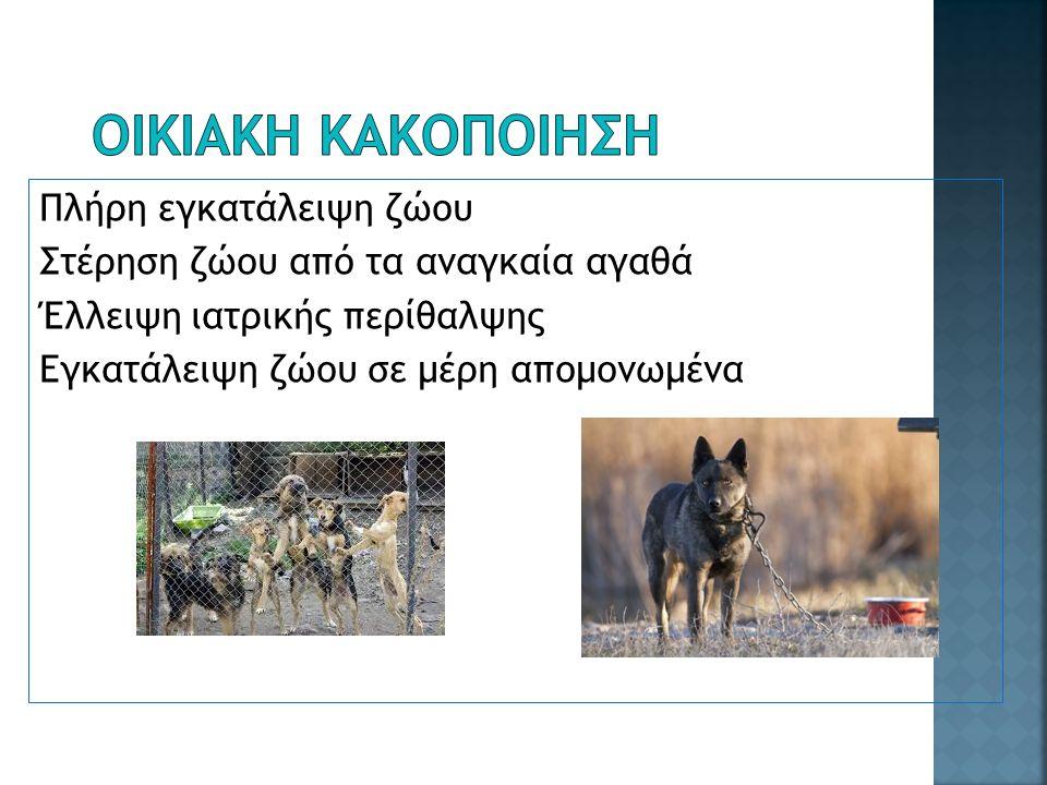 Πλήρη εγκατάλειψη ζώου Στέρηση ζώου από τα αναγκαία αγαθά Έλλειψη ιατρικής περίθαλψης Εγκατάλειψη ζώου σε μέρη απομονωμένα