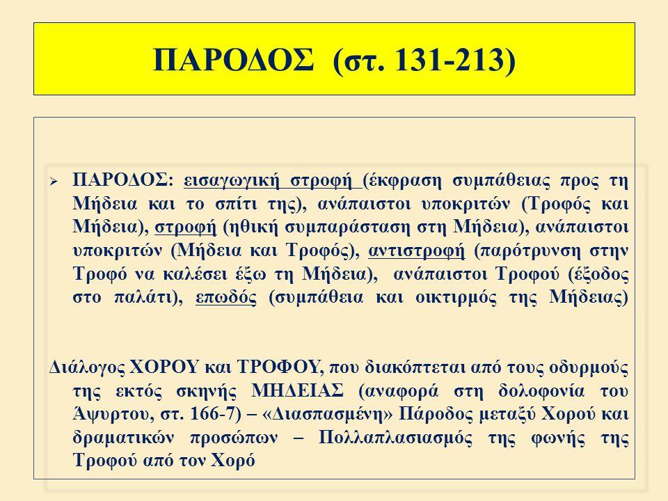 ΠΡΟΛΟΓΟΣ (στ. 1-130) ΙΙΙ  ΠΡΟΛΟΓΟΣ : Τριμερής άρθρωση 3.) ΤΡΟΦΟΣ – ΜΗΔΕΙΑ [« ένδοθεν »] ( στ.