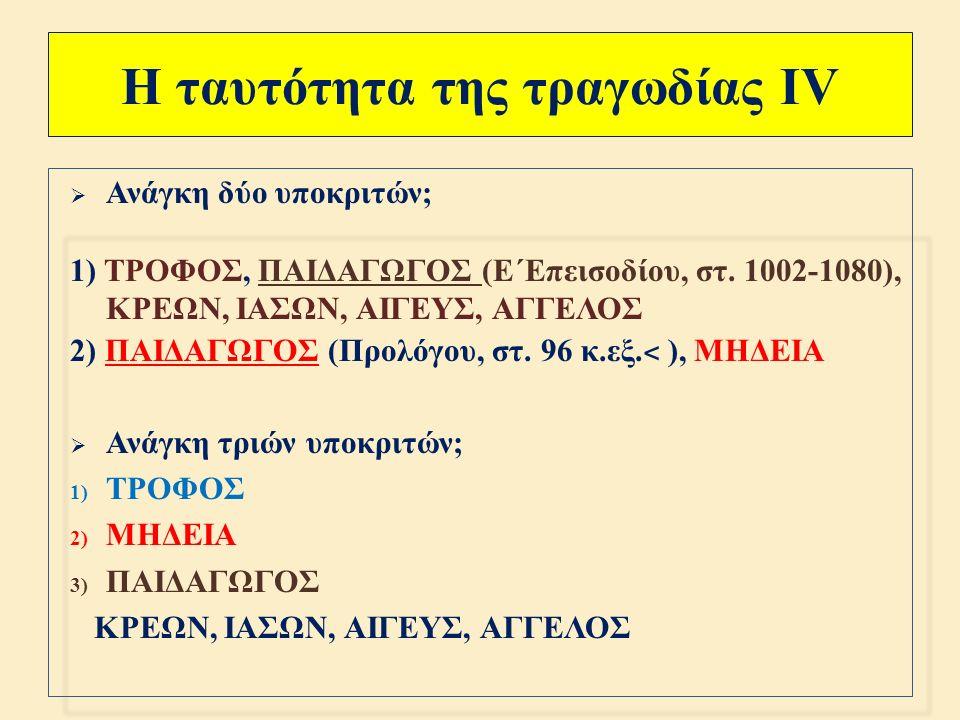 Η ταυτότητα της τραγωδίας ΙΙΙ  1.419 στίχοι  Δραματικά πρόσωπα : ΤΡΟΦΟΣ – ΚΡΕΩΝ – ΠΑΙΔΕΣ [ Μέρμερος και Φέρης ]– ΠΑΙΔΑΓΩΓΟΣ – ΜΗΔΕΙΑ (561 στ.) – ΙΑΣΩΝ (201 στ.), γιος του Αίσονα και της Πολυμήδης ή Αλκιμήδης – ΑΙΓΕΥΣ ( γιος του Αθηναίου Πανδίωνα και της Μεγαρίτισσας Πυλίας )– ΑΓΓΕΛΟΣ – ΧΟΡΟΣ γυναικών της Κορίνθου (297 στ.)