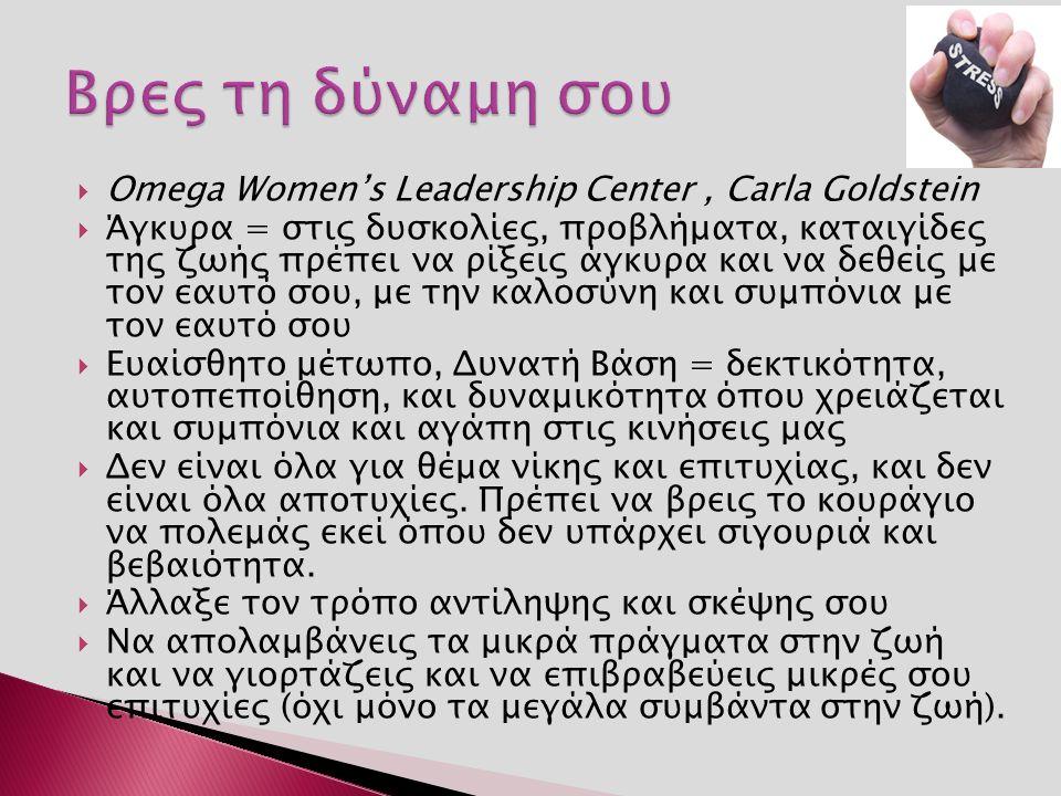  Omega Women's Leadership Center, Carla Goldstein  Άγκυρα = στις δυσκολίες, προβλήματα, καταιγίδες της ζωής πρέπει να ρίξεις άγκυρα και να δεθείς με τον εαυτό σου, με την καλοσύνη και συμπόνια με τον εαυτό σου  Ευαίσθητο μέτωπο, Δυνατή Βάση = δεκτικότητα, αυτοπεποίθηση, και δυναμικότητα όπου χρειάζεται και συμπόνια και αγάπη στις κινήσεις μας  Δεν είναι όλα για θέμα νίκης και επιτυχίας, και δεν είναι όλα αποτυχίες.