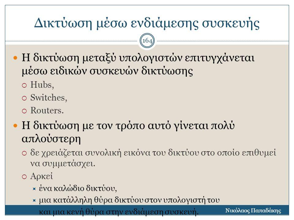 Δικτύωση μέσω ενδιάμεσης συσκευής Νικόλαος Παπαδάκης 165