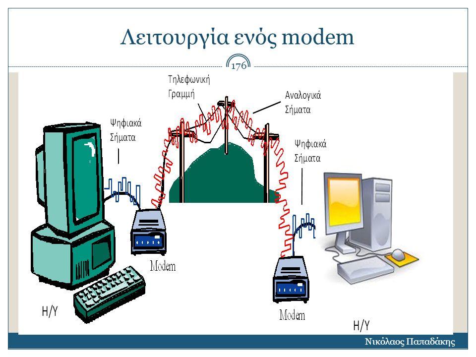 Ρυθμός μετάδοσης δεδομένων Βασικό στοιχείο που προσδιορίζει ένα modem  είναι ο ρυθμός μετάδοσης δεδομένων στο δίκτυο  ο οποίος μας δείχνει πόσο γρήγορα μπορεί να στείλει ή να λάβει δεδομένα ένα modem.