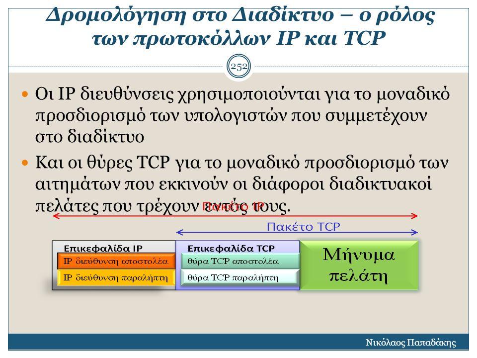 Δρομολόγηση στο Διαδίκτυο – ο ρόλος των πρωτοκόλλων ΙΡ και TCP Οι ΙΡ διευθύνσεις χρησιμοποιούνται για το μοναδικό προσδιορισμό των υπολογιστών που συμ