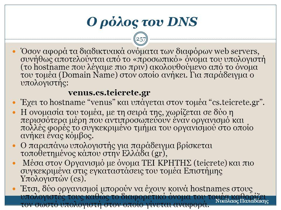 Ο ρόλος του DNS Όσον αφορά τα διαδικτυακά ονόματα των διαφόρων web servers, συνήθως αποτελούνται από το «προσωπικό» όνομα του υπολογιστή (το hostname