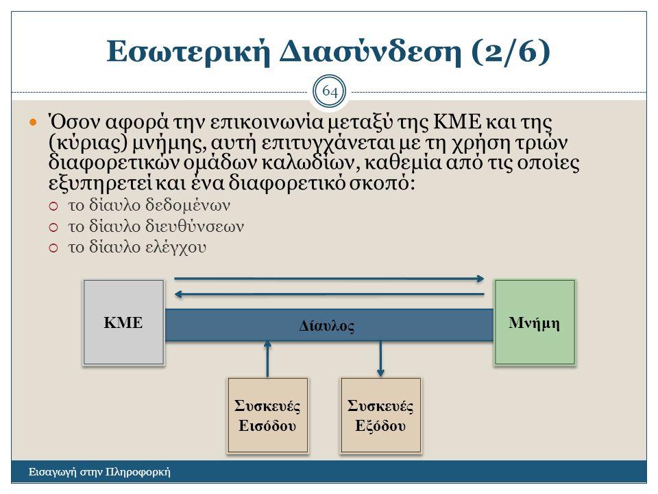 Εσωτερική Διασύνδεση (2/6) Εισαγωγή στην Πληροφορκή 64 Όσον αφορά την επικοινωνία μεταξύ της ΚΜΕ και της (κύριας) μνήμης, αυτή επιτυγχάνεται με τη χρήση τριών διαφορετικών ομάδων καλωδίων, καθεμία από τις οποίες εξυπηρετεί και ένα διαφορετικό σκοπό:  το δίαυλο δεδομένων  το δίαυλο διευθύνσεων  το δίαυλο ελέγχου Δίαυλος ΚΜΕ Μνήμη Συσκευές Εισόδου Συσκευές Εισόδου Συσκευές Εξόδου Συσκευές Εξόδου