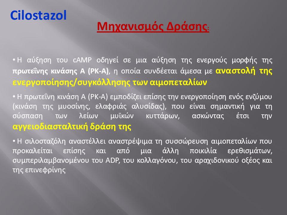 Cilostazol Η αύξηση του cAMP οδηγεί σε μια αύξηση της ενεργούς μορφής της πρωτεΐνης κινάσης Α (ΡΚ-Α), η οποία συνδέεται άμεσα με αναστολή της ενεργοποίησης/συγκόλλησης των αιμοπεταλίων Η πρωτεΐνη κινάση Α (ΡΚ-Α) εμποδίζει επίσης την ενεργοποίηση ενός ενζύμου (κινάση της μυοσίνης, ελαφριάς αλυσίδας), που είναι σημαντική για τη σύσπαση των λείων μυϊκών κυττάρων, ασκώντας έτσι την αγγειοδιασταλτική δράση της Η σιλοσταζόλη αναστέλλει αναστρέψιμα τη συσσώρευση αιμοπεταλίων που προκαλείται επίσης και από μια άλλη ποικιλία ερεθισμάτων, συμπεριλαμβανομένου του ADP, του κολλαγόνου, του αραχιδονικού οξέος και της επινεφρίνης Μηχανισμός Δράσης :