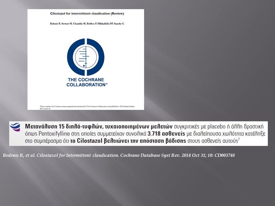 Bedenis R, et al.Cilostazol for Intermittent claudication.