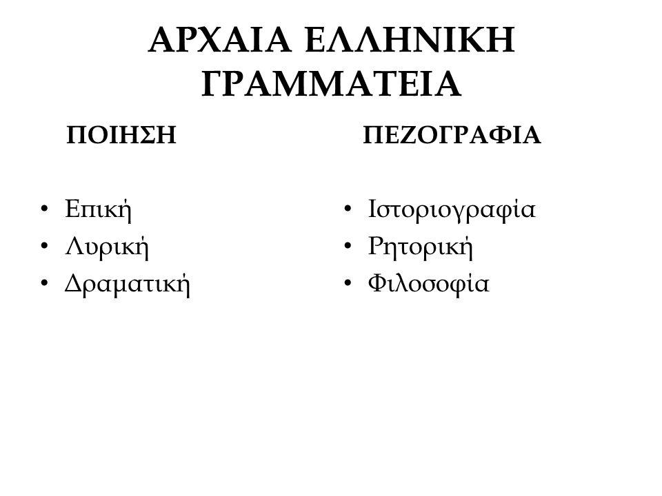 Στο δράμα χρησιμοποιήθηκαν στοιχεία από το Έπος και τη Λυρική ποίηση Οι τέχνες που σχετίζονται με την ποίηση στην αρχαία εποχή είναι : Η μουσική Ο χορός