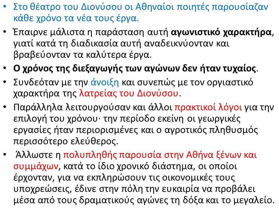 Στο θέατρο του Διονύσου οι Αθηναίοι ποιητές παρουσίαζαν κάθε χρόνο τα νέα τους έργα. Έπαιρνε μάλιστα η παράσταση αυτή αγωνιστικό χαρακτήρα, γιατί κατά