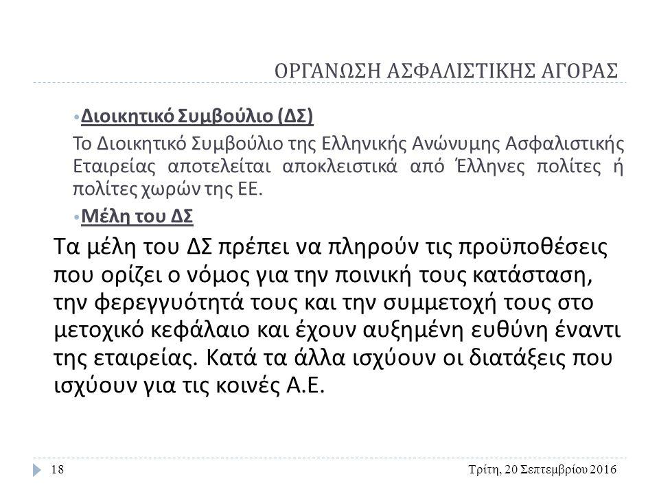 ΟΡΓΑΝΩΣΗ ΑΣΦΑΛΙΣΤΙΚΗΣ ΑΓΟΡΑΣ Τρίτη, 20 Σεπτεμβρίου 201618 Διοικητικό Συμβούλιο ( ΔΣ ) Το Διοικητικό Συμβούλιο της Ελληνικής Ανώνυμης Ασφαλιστικής Εταιρείας αποτελείται αποκλειστικά από Έλληνες πολίτες ή πολίτες χωρών της ΕΕ.