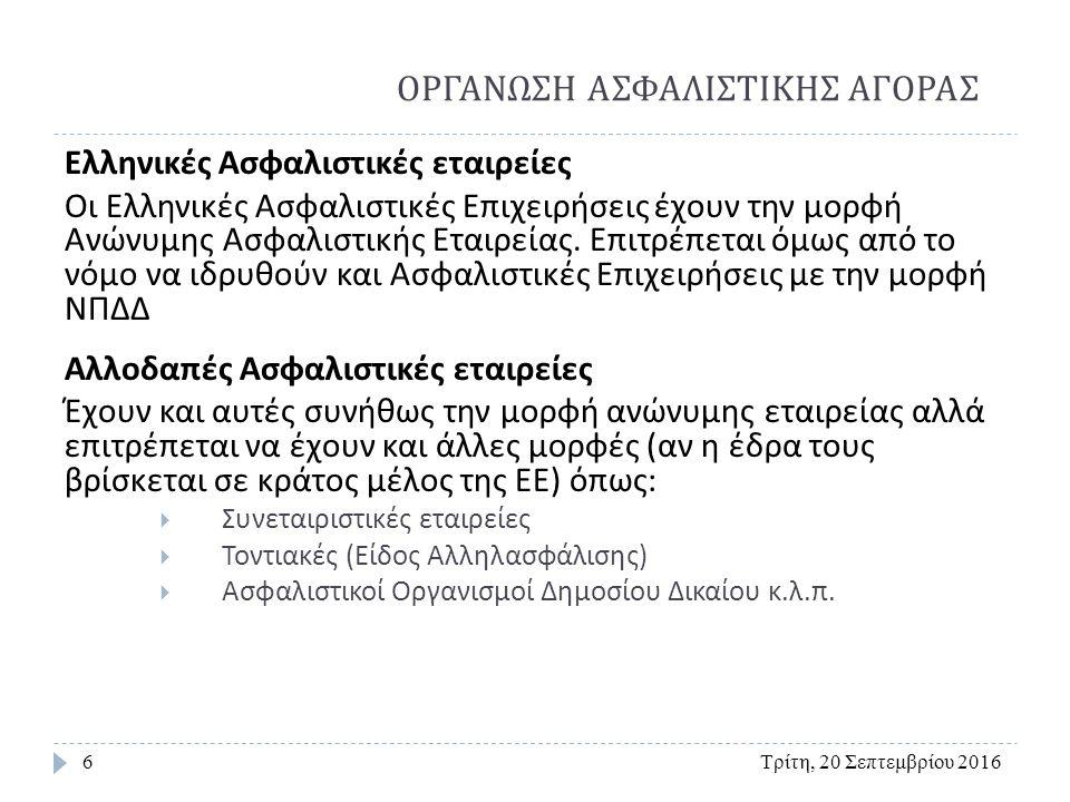 Κατηγορίες Ασφαλιστικών εταιριών με έδρα στην Ελλάδα Τρίτη, 20 Σεπτεμβρίου 20167 με κριτήριο την προέλευση των κεφαλαίων τους : 1.