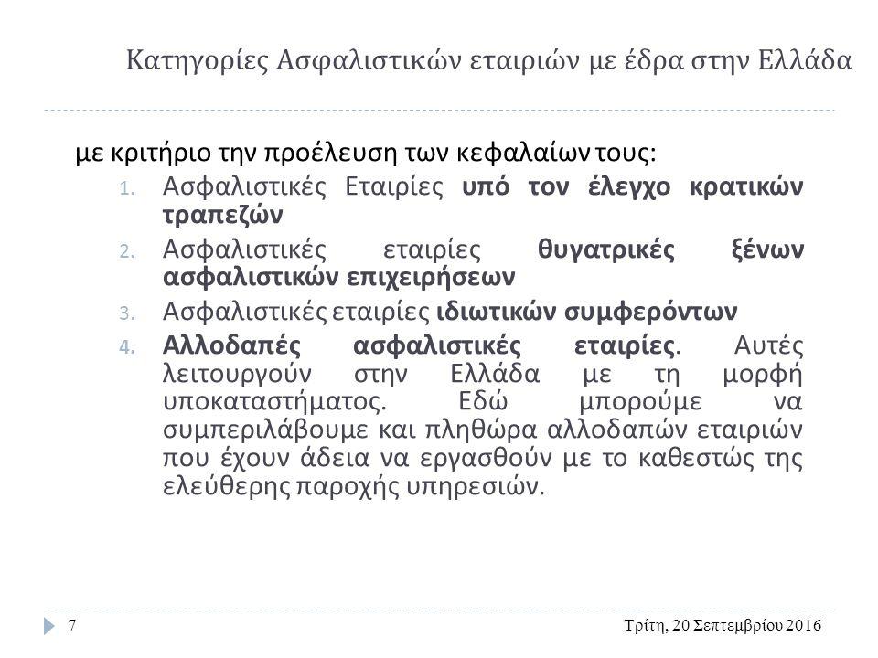 ΟΡΓΑΝΩΣΗ ΑΣΦΑΛΙΣΤΙΚΗΣ ΑΓΟΡΑΣ Τρίτη, 20 Σεπτεμβρίου 201628 Αλληλοασφαλισπκός συνεταιρισμός Αμοιβαία ασφάλιση Στην Ελλάδα επιτρέπεται η σύσταση συνεταιρισμού αμοιβαίας ασφάλισης ή αλληλασφάλισης μόνο για αντιμετώπιση κινδύνων ζημιών.