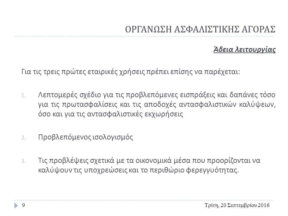 ΟΡΓΑΝΩΣΗ ΑΣΦΑΛΙΣΤΙΚΗΣ ΑΓΟΡΑΣ Τρίτη, 20 Σεπτεμβρίου 201640 Ασφαλιστική Επιχείρηση τρίτης ( μη κοινοτικής ) χώρας  Σε μη κοινοτική επιχείρηση χορηγείται άδεια μόνο αν :  Κατέχει ολόκληρο το απαιτούμενο μετοχικό κεφάλαιο ( κατατεθειμένο στην χώρα της )  Διαθέτει στην Ελλάδα το 50% του κατώτατου εγγυητικού κεφαλαίου και έχει καταθέσει το 25% αυτού ως εγγύηση  Έχει αναλάβει δέσμευση ότι θα κατέχει το περιθώριο φερεγγυότητας ( στην Ελλάδα ή σε άλλη κοινοτική χώρα )  Έχει οργανωμένη λογιστική και διοικητική δομή  Ισχύει η αρχή της αμοιβαιότητας μεταξύ Ελλάδος και της χώρας προέλευσης της εταιρείας.