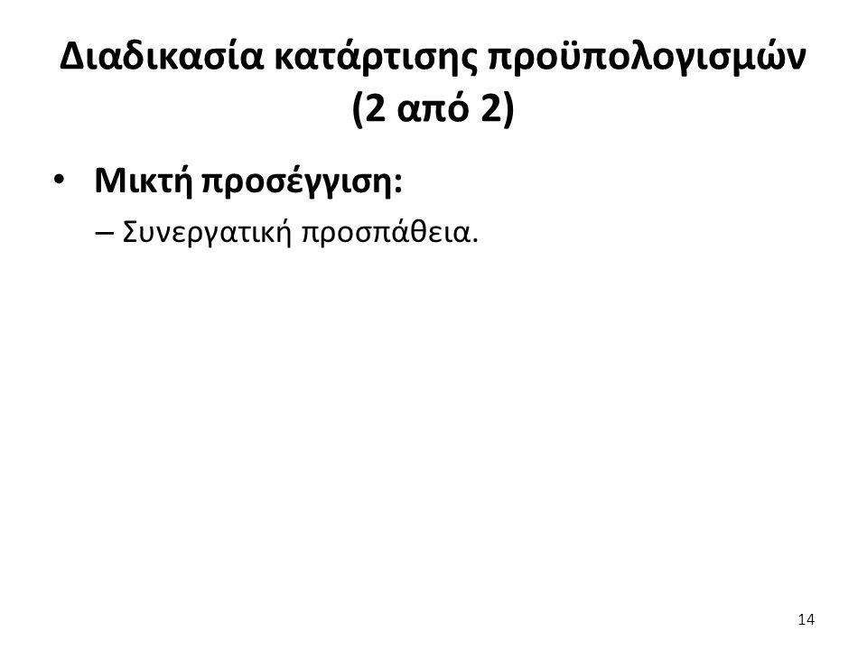 Διαδικασία κατάρτισης προϋπολογισμών (2 από 2) Μικτή προσέγγιση: – Συνεργατική προσπάθεια. 14