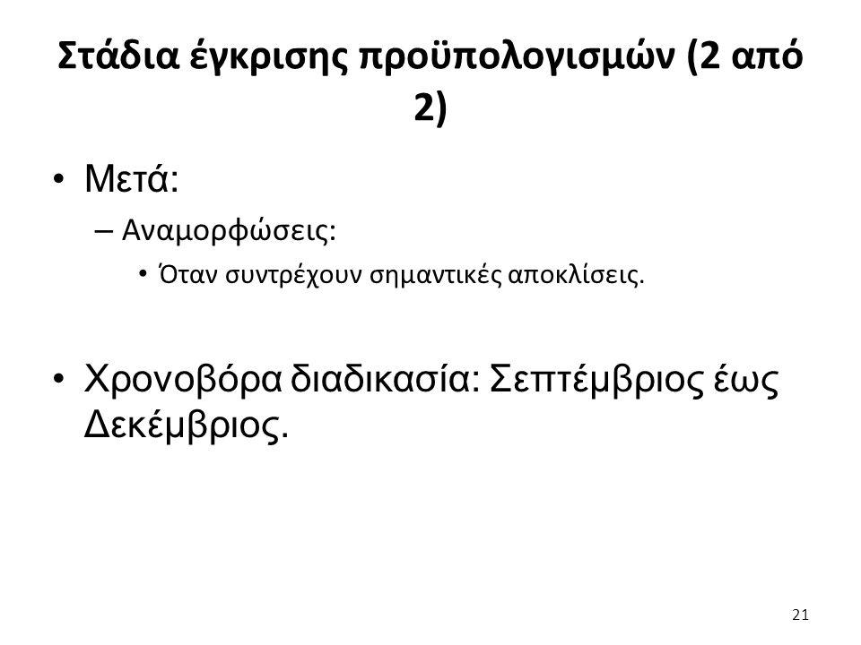 Στάδια έγκρισης προϋπολογισμών (2 από 2) Μετά: – Αναμορφώσεις: Όταν συντρέχουν σημαντικές αποκλίσεις.