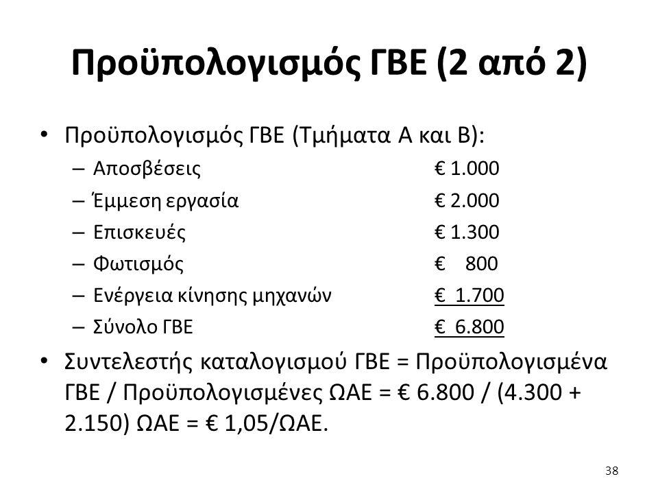 Προϋπολογισμός ΓΒΕ (2 από 2) Προϋπολογισμός ΓΒΕ (Τμήματα Α και Β): – Αποσβέσεις € 1.000 – Έμμεση εργασία € 2.000 – Επισκευές € 1.300 – Φωτισμός€ 800 – Ενέργεια κίνησης μηχανών € 1.700 – Σύνολο ΓΒΕ€ 6.800 Συντελεστής καταλογισμού ΓΒΕ = Προϋπολογισμένα ΓΒΕ / Προϋπολογισμένες ΩΑΕ = € 6.800 / (4.300 + 2.150) ΩΑΕ = € 1,05/ΩΑΕ.