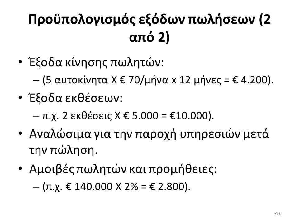 Προϋπολογισμός εξόδων πωλήσεων (2 από 2) Έξοδα κίνησης πωλητών: – (5 αυτοκίνητα Χ € 70/μήνα x 12 μήνες = € 4.200).