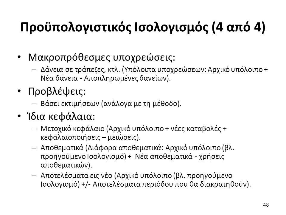Προϋπολογιστικός Ισολογισμός (4 από 4) Μακροπρόθεσμες υποχρεώσεις: – Δάνεια σε τράπεζες, κτλ.