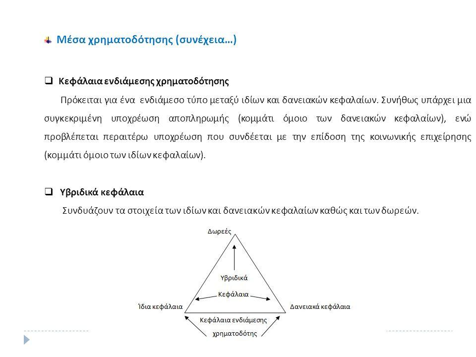 Μέσα χρηματοδότησης (συνέχεια…)  Κεφάλαια ενδιάμεσης χρηματοδότησης Πρόκειται για ένα ενδιάμεσο τύπο μεταξύ ιδίων και δανειακών κεφαλαίων.