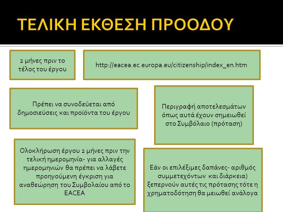 2 μήνες πριν το τέλος του έργου http://eacea.ec.europa.eu/citizenship/index_en.htm Περιγραφή αποτελεσμάτων όπως αυτά έχουν σημειωθεί στο Συμβόλαιο (πρόταση) Πρέπει να συνοδεύεται από δημοσιεύσεις και προϊόντα του έργου Εάν οι επιλέξιμες δαπάνες- αριθμός συμμετεχόντων και διάρκεια) ξεπερνούν αυτές τις πρότασης τότε η χρηματοδότηση θα μειωθεί ανάλογα Ολοκλήρωση έργου 2 μήνες πριν την τελική ημερομηνία- για αλλαγές ημερομηνιών θα πρέπει να λάβετε προηγούμενη έγκριση για αναθεώρηση του Συμβολαίου από το EACEA