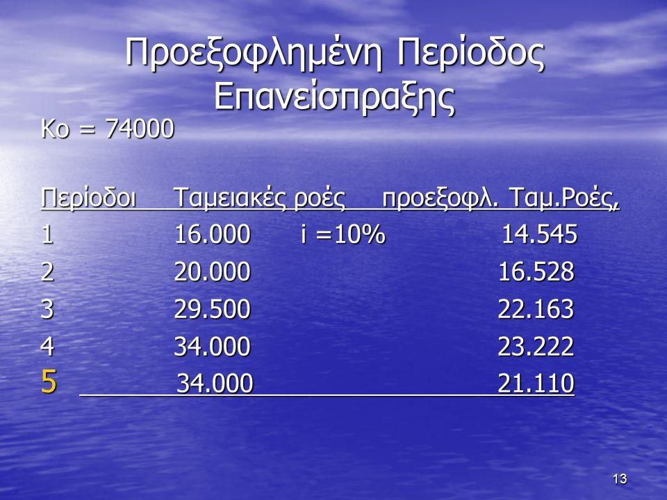 13 Προεξοφλημένη Περίοδος Επανείσπραξης Κο = 74000 ΠερίοδοιΤαμειακές ροές προεξοφλ.
