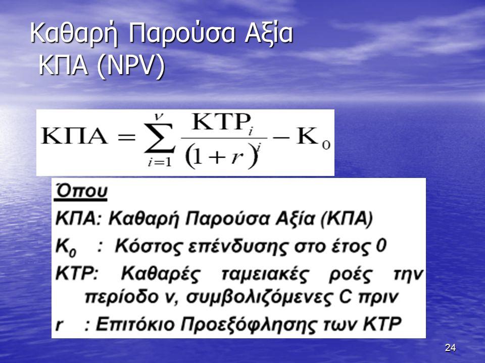 24 Καθαρή Παρούσα Αξία ΚΠΑ (NPV)